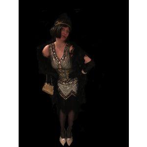 charleston kjole guld